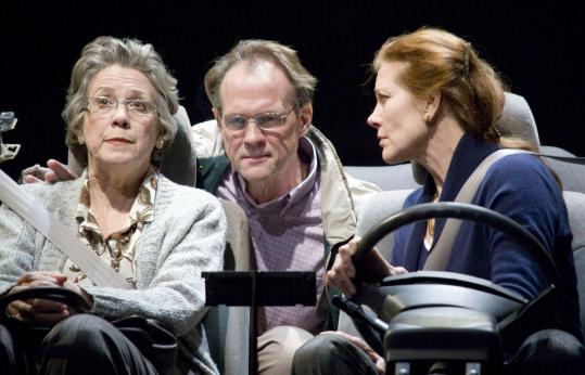 From left: Carole Monferdini, John Wojda, and Kate Udall in Joel Drake Johnson&#8217;s &#8220;Four Places,&#8217;&#8217; making its East Coast premiere in Lowell.