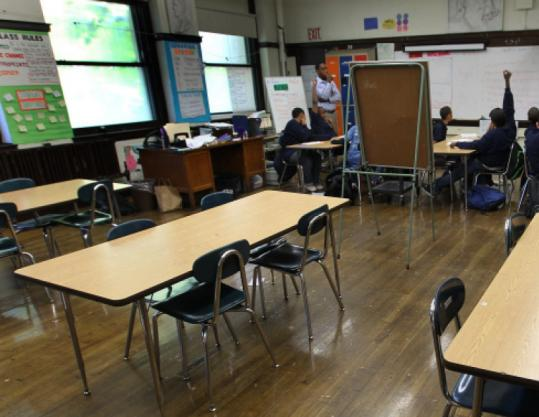 Some seats were empty in a Dearborn Middle School class. There are conflicting reports on the school's vacancy rate.