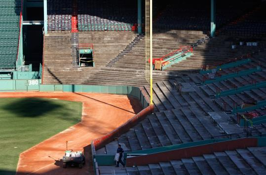 Fenway Park improvements to the right field lower seating bowl include concrete repair, waterproofing, and seat replacements. The Red Sox are completing a 10-year, $285 million renovation project, which also includes improvements to concession areas and high-tech scoreboards for the park, which opened in 1912.