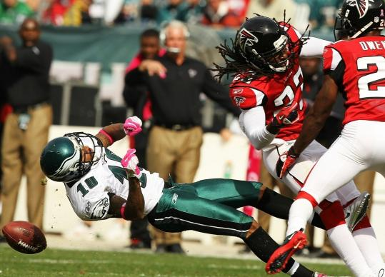Eagles receiver DeSean Jackson was leveled by a hit from Falcons cornerback Dunta Robinson. Robinson was fined $50,000 . . .