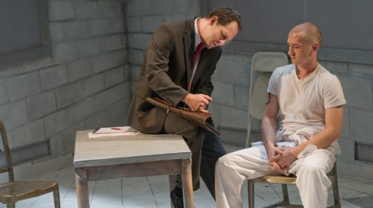 "Benjamin Evett (left) as a Jewish lawyer and Tim Eliot as a neo-Nazi skinhead in New Repertory Theatre's production of ""Cherry Docs.''"