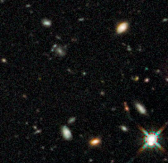 Light from the ancient galaxy was found in this photograph taken by the Hubble Space Telescope this year.