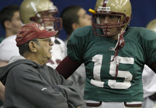 Gary Tranquill has coached some green quarterbacks at BC: Chase Rettig this year, and Dave Shinskie (above) last year.