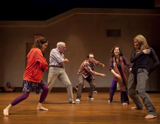 "In ""Circle Mirror Transformation,'' indefatigably upbeat theater teacher Marty, played by Besty Aidem (second from right), leads her four students through a series of seemingly banal acting exercises in which what is not said is as important as what is."