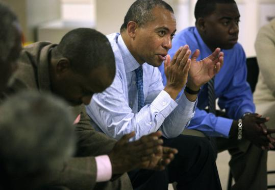 Governor Deval Patrick at the Statewide Black Clergy for Unity Prayer Group in Boston earlier this month.