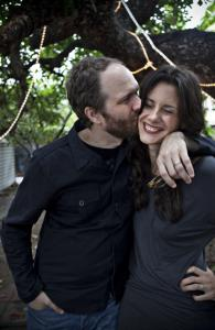 Married playwrights Erik Jensen and Jessica Blank in Los Angeles.