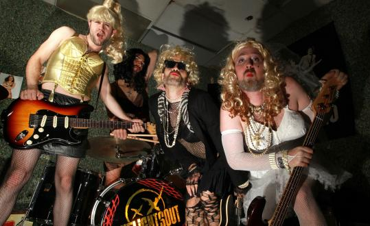 """The Lights Out will play in costume Saturday night as several iterations of Madonna. From left: Adam Ritchie (""""Blond Ambition''), Jesse James (""""Like a Prayer''), Rishava Green (""""Desperately Seeking Susan''), and Matt King (""""Like a Virgin'')."""