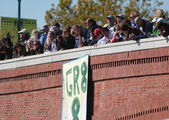 Spectators at the Eliot Bridge watched the Head of the Charles Regatta. Yesterday marked the race's 46th year.