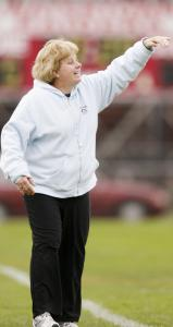 In her 25th season as Watertown High's coach, Eileen Donahue directs her players during Wednesday's win over Wakefield.