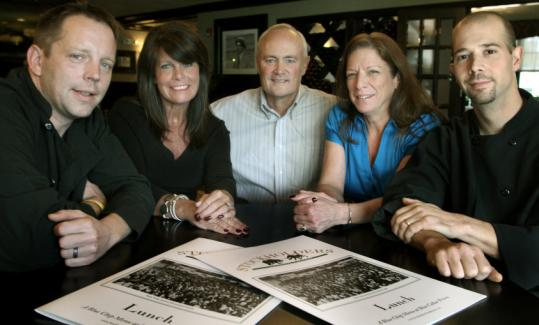 South Shore restaurateur Kevin Hynes (center) with longtime employees and new partners (from left): Richard McInerney, Jeannie Russell, Karen Newhall, and Scott Boragine.