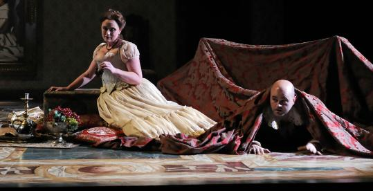 "Soprano Meredith Hansen as Marzelline and tenor Jason Ferrante as Jacquino in Opera Boston's ""Fidelio.''"