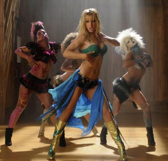 Heather Morris (center) performs in &#8220;the Britney Spears episode&#8217;&#8217; of &#8220;Glee.&#8217;&#8217;