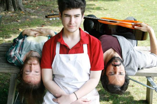 From left: Alex Pollock plays KJ, Jacob Brandt portrays Evan, and Nael Nacer is Jasper in Company One&#8217;s production of &#8220;The Aliens.&#8217;&#8217;