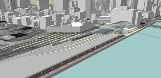 A photo of the preliminary design for the South Station expansion. The 111-year-old terminal is a hub for subway, bus, and rail traffic.