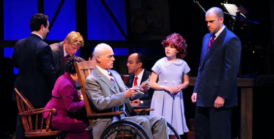 Grace Brakeman as Annie and Timothy John Smith (right) as Oliver Warbucks.