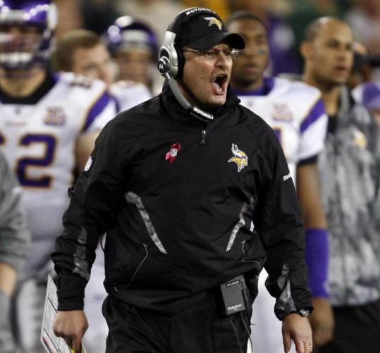 Vikings coach Brad Childress was not pleased with Brett Favre's completions to members of the Packers' secondary Sunday night.