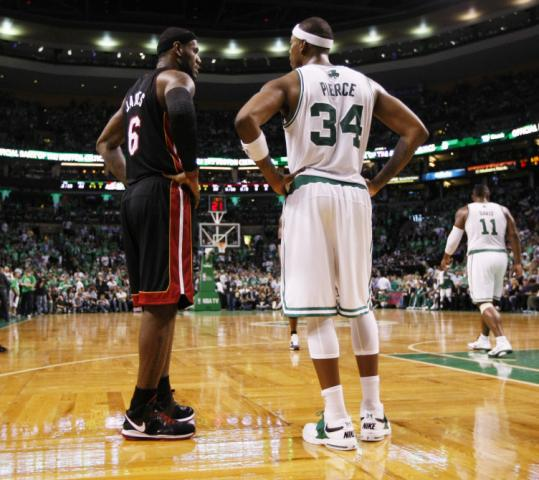 There was plenty of talk before the game, and LeBron James and Paul Pierce still had things to say in the second quarter.