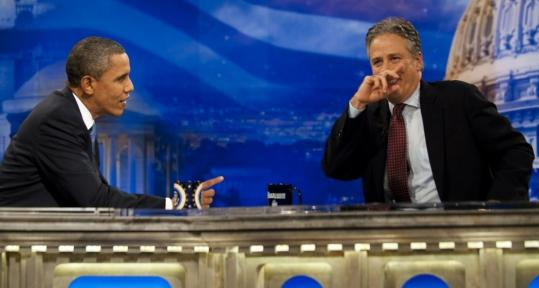 "During an interview, Jon Stewart asked President Obama how the political environment got to the point that Democrats ""seem to be running on 'Please, baby, one more chance.' ''"