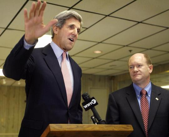 Senator John F. Kerry spoke at a campaign event for Chris Coons of Delaware (right), a Senate candidate, in Newark, Del.