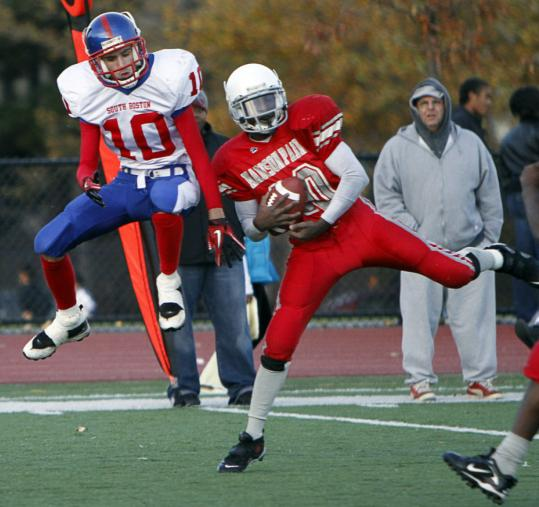 Madison Park's Chris Philyew cuts in front of South Boston's Brian Dunphy to intercept a pass.