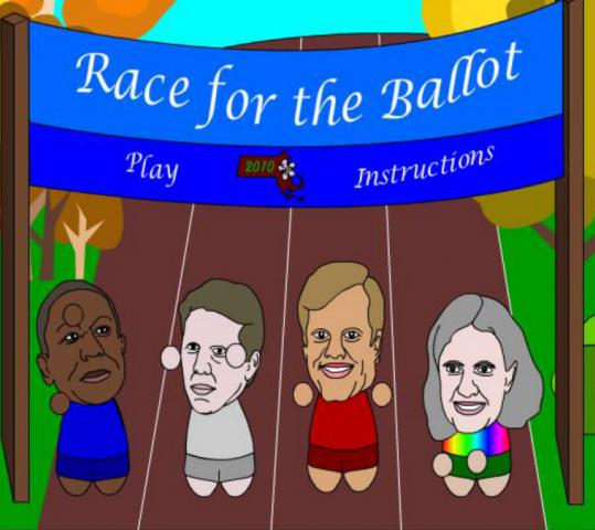 An online game designed by students at Becker College pits gubernatorial candidates against one another in a foot race.