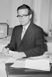 Theodore Sorensen tabulated potential roll call votes in 1960 at President Kennedy's headquarters in Los Angeles.
