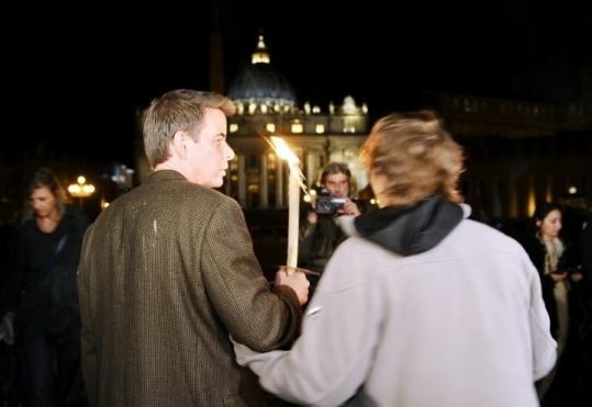 Gary Bergeron of Boston (left) was one of the organizers of the gathering of clergy sex abuse victims in Rome.