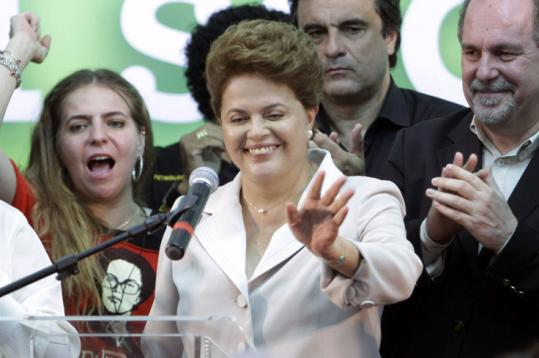 President-elect Dilma Rousseff of Brazil waved to crowd before her victory speech yesterday after defeating rival Jose Serra.