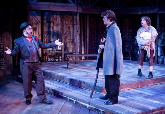 "From left: Larry Coen, Jack Cutmore-Scott, and Jason Powers in the Lyric Stage's ""The Life and Adventures of Nicholas Nickleby.''"