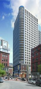 A rendering of a 26-story business and residential tower to be built at Kingston and Essex streets.