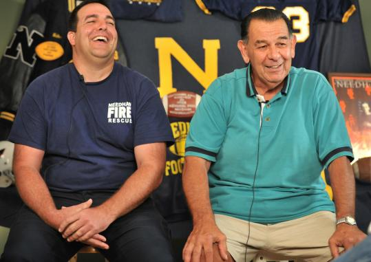 Rob Giumetti, 34, and Bob Giumetti, 70, are believed to be the only son-father pair to have captained Needham High School's football team.