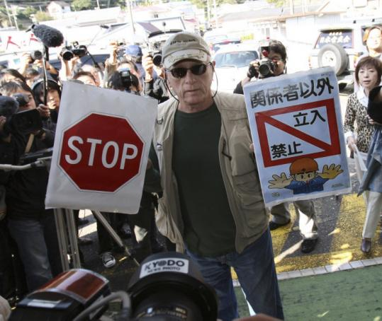 "Richard O'Barry, an activist who starred in the documentary ""The Cove,'' boycotted the meeting at Taiji Community Center."