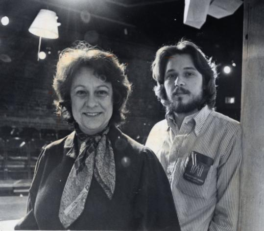 Director June Judson in 1981 at the People's Theatre in Cambridge with Paul Dedell, a producer and set designer.