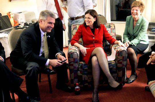 Republican Kelly Ayotte, center, defeated Paul Hodes in New Hampshire for the Senate seat vacated by Judd Gregg.