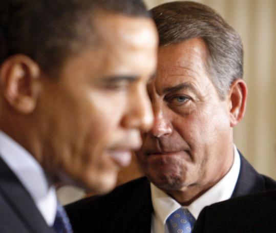 The fortunes of John Boehner, right, and President Obama are linked.