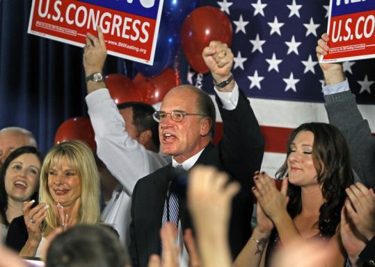 William Keating made his victory speech in Quincy with his wife, Tevis (left), and daughter, Kristen (right), at his side.