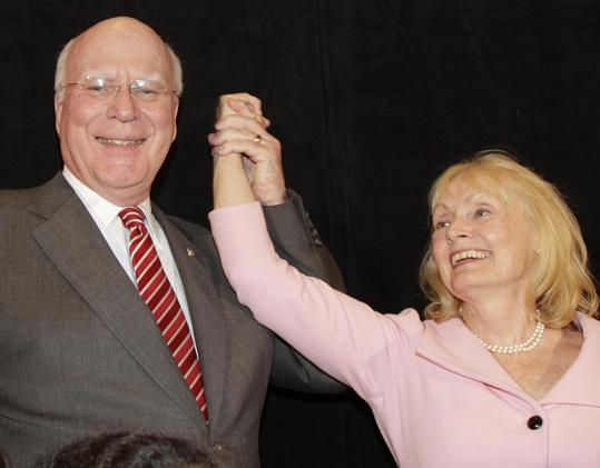 Vermont Senator Pat Leahy celebrated his reelection last night with his wife, Marcelle.