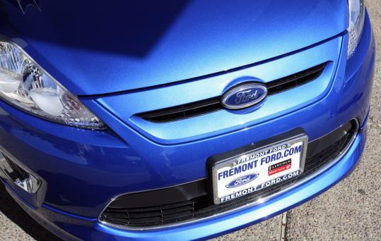 A 2011 Ford Fiesta sits at a California dealership. Ford Motor Co. said yesterday that its US sales for October rose 19 percent, as every major carmaker except Toyota reported better results.