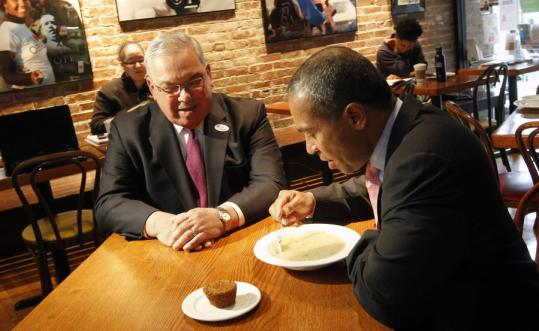 Mayor Thomas Menino and Governor Deval Patrick met at Haley House in Roxbury on Election Day. Menino's team helped marshal votes for Patrick.