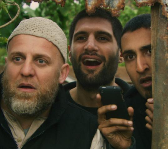 From left: Nigel Lindsay, Kayvan Novak, and Arsher Ali play bumbling terrorists.
