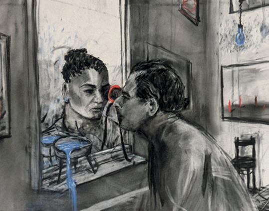 "William Kentridge's ""Felix in Exile'' features images of a man longing for his lover in a room slowly filling with blue water."