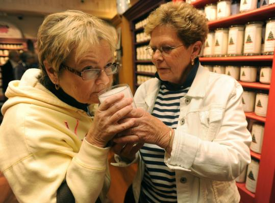 Barbara Sevene of Bernardston and Marsha Hume of Northfield shopped at Kringle Candle Co. in Bernar