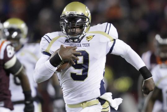 Georgia Tech quarterback Joshua Nesbitt scored on this touchdown run, but the Yellow Jackets lost to Virginia Tech.