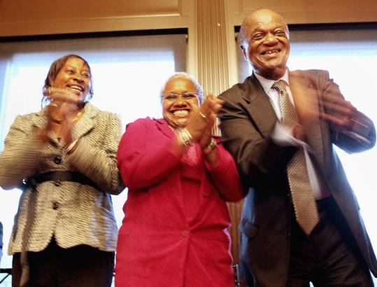 Precious Johnson, Venita Qualls, and Henry Hardy graduated from St. Francis House's Moving Ahead Program at the Union Club in Boston.