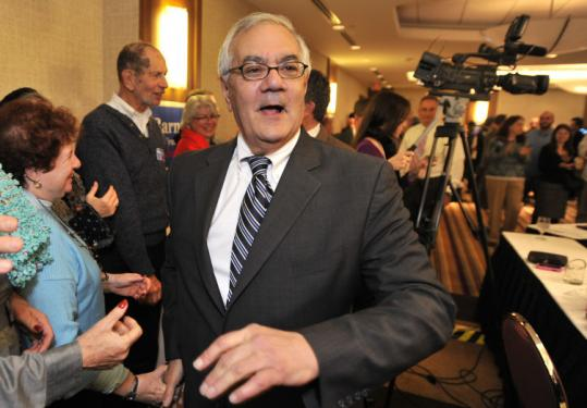 US Representative Barney Frank greeted supporters who were celebrating his reelection Tuesday night in Newton.