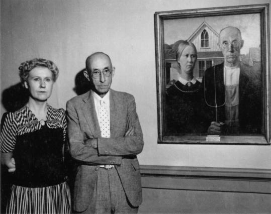 "Nan Wood Graham and Dr. B.H. McKeeby, Grant Wood's models for ""American Gothic,'' in 1942."