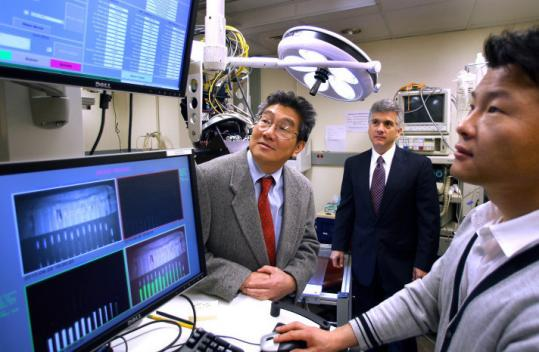 At Beth Israel Deaconess Medical Center, researchers (from left) Akira Tsuda, John V. Frangioni, and Hak Soo Choi.