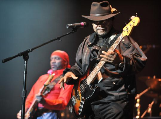 "Among those performing in the ""Experience Hendrix'' showcase Sunday night at the Orpheum were Billy Cox and Ernie Isley (background)."