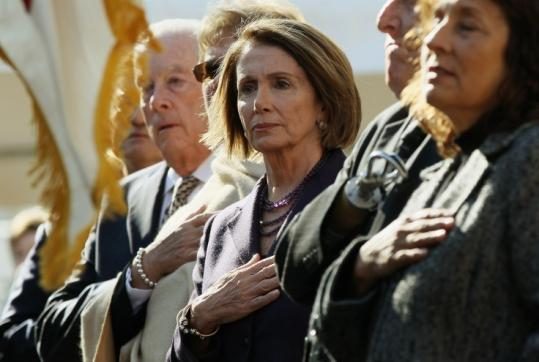 House Speaker Nancy Pelosi, seen at a American Veterans Disabled groundbreaking ceremony yesterday, startled many Democrats by running for minority leader.