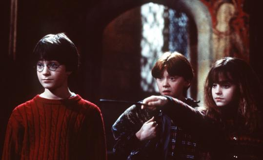 """Harry Potter and the Sorcerer's Stone'' introduced audiences to (from left) Daniel Radcliffe as Harry Potter, Rupert Grint as Ron Weasley, and Emma Watson as Hermione Granger."